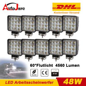 10x 48W LED Arbeitsscheinwerfer 12V Arbeitslampe Traktor Trecker Stapler Lichter