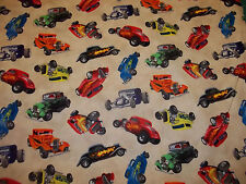 HOT RODS CARS IN MOTION  ELIZABETH'S STUDIO 100% COTTON CREAM 1 YARD  LOOK!!!