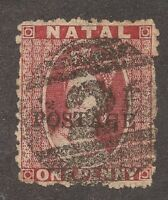 OFFER NATAL 1d Sc#34  overprint POSTAGE South Africa UK British Colonies