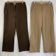 2 Pair L.L. Bean Sz 8P Brushed Cotton Career Trouser Pants Brown & Tan