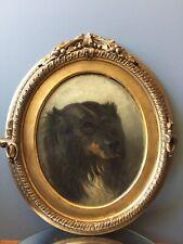 auguste de Molins tableau ancien chasse a courre chien peintre suisse barbizon