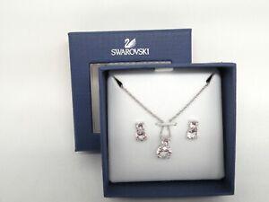 "Authentic Swarovski ""BRILLIANCE"" Crystal Pendant - Ear Set Rhodium New in Box"
