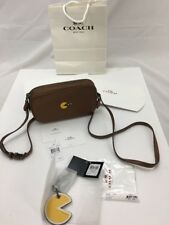 Coach x Pacman Leather Saddle Brown Yellow Crossbody Purse & Bag Charm KeyRing