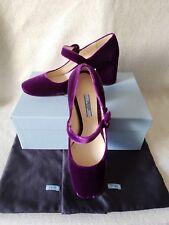 NIB Prada 38.5 8.5 Classic Mary Jane Purple Velvet Block Heels Pumps Buckle Shoe