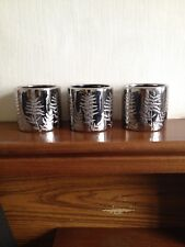 Set Of 3 Tealight Holders Silver Etched Leaf Detailing Brand New