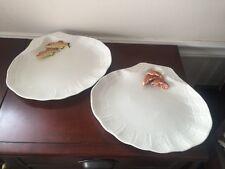R & R Italian Craw Fish Figurine Set of 2 Large Ceramic Serving Shell Dish Rare