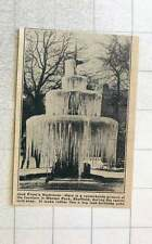 1923 The Fountain In Weston Park Sheffield During Recent Cold Snap