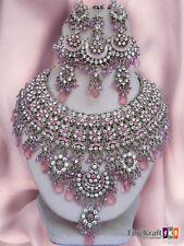 Silver Plated Jodha Akber Kundan Zerconic Bollywood Necklace Set Earrings Tikka