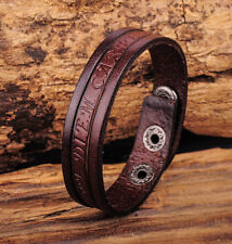 NG369 Brown Rock Single Wrap Vintage Embossed Leather Wristband Bracelet Cuff