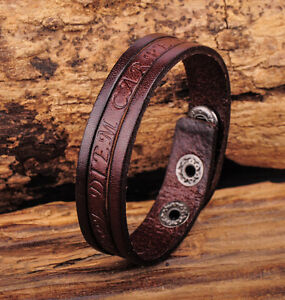 NG369 Brown Mens Single Wrap Vintage Embossed Leather Wristband Bracelet Cuff