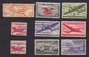 US Airmail Collection - 1934 - 1949 Nine Stamps - Used