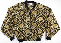 Vintage 80s 90s Baroque Floral Black Gold All Over Print Bomber Womens Jacket M