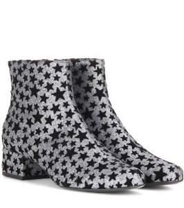 SAINT LAURENT Babies Star-Embellished Glitter Ankle Boots In Black Silver 36 / 6