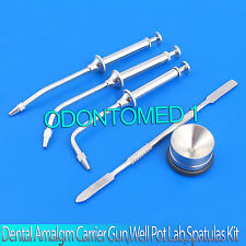 Dental Amalgam Carrier Gun Syringes Restorative Well Pot Lab Mixing Spatulas Kit
