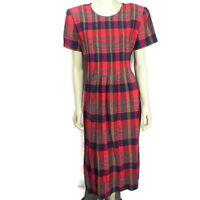Vintage 90s Womens 16 Plaid Linen Cotton Blend Dress Red Teacher Career Modest