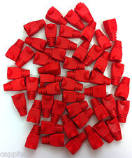 PACK OF 50 RED RJ45 SNAGLESS NETWORK CABLE PLUG HOODS BOOTS CAT5e CAT6