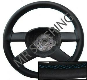 FOR TOYOTA AVENSIS MK2 BLACK REAL LEATHER STEERING WHEEL COVER LIGHT BLUE STITCH