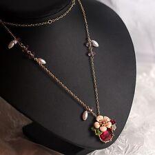 Collier Mi-long Pendantif Fleur Email Rose Feuille Vert Rouge Perle Mimi L8