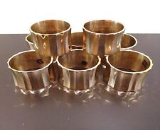 "Vintage Set of 8 Brass Napkin Rings Holders Ridged Oval 2x1.8x1.1"" Patina India"