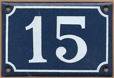 Old blue French house number 15 door gate plate plaque enamel metal sign steel