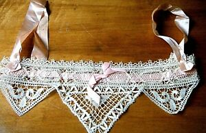 Antique Victorian bobbin Cluny lace camisole top collar gorgeous handmade #2