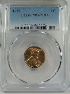 BU Red GEM 1939 Lincoln Wheat Penny PCGS MS67 RD.  #19