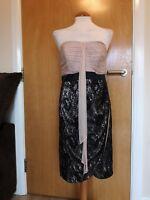 Ladies MONSOON Dress Size 12 Wiggle Lace Chiffon Nude Black Party Evening