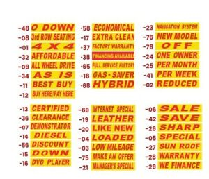 CAR DEALER SLOGAN WINDOW STICKERS RED AND YELLOW *NEW SLOGANS***