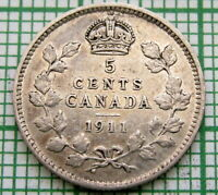 CANADA GEORGE V 1911 5 CENTS, SILVER ONE YEAR TYPE