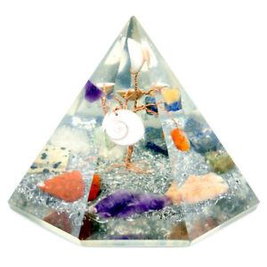 Orgonite 7 sided Crystal Pyramid Gemstone Wisdom Tree 90 mm Reiki Energy Healing