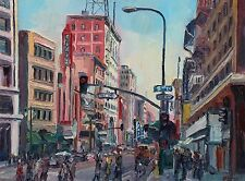 5th and Broadway downtown Los Angeles California Plein Air Impressionism Oil