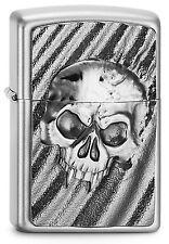 ZIPPO Feuerzeug DESERT SKULL mit Emblem Satin Chrome Totenkopf Wüste NEU OVP