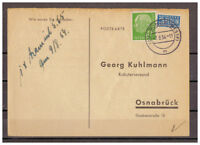 BRD, MiNr. 183 + Notopfer Bünde, Westf. nach Osnabrück 07.08.1954