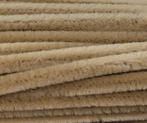 """Box of 100 Tan 12"""" Long x 1/4"""" 6mm Wired Pipe Cleaners Craft Chenille Stems"""