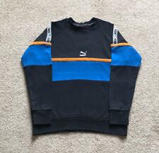 Vintage Men's Puma Black and Blue Sweatshirt Jumper Size Medium (retro)
