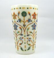 05 Inches Marble Decor Glass Hand Crafted Floral Art Table Master Piece for Gift