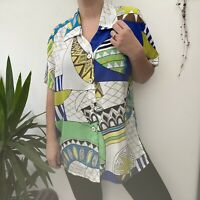 Vtg 80s 90s Jacques Vert Funky Abstract Shirt Blouse Blue Yellow Green Sz 14 16