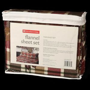 Everyday Living Flannel Twin Sheet Set Plaid Leaves Cotton Red Green Brown NEW