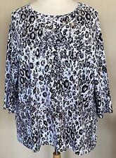Liz Me Sport Stretch Knit Top Animal Print Leopard Black White Silver 3X 26/28W