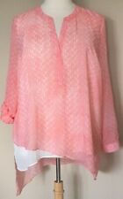 NWT Kim Rogers Woman Blouse Asymmetrical Hem Layered Roll Tab Sleeves Coral 2X