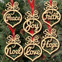 6 Pcs Christmas Decor Real Wooden Ornament Xmas Tree Hanging Pendant Ornament CA