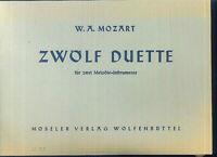 MOZART : Zwölf Duette für 2 Melodieinstrumente