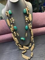 "Vintage Bohemian Exotic Long Wood Beaded Multi Strand Necklace  40"" Turquoise"