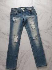Women's Almost Famous Premium Distressed Skinny Blue Jeans Size 9