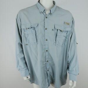 Columbia PFG Mens Vented Fishing Shirt Size 2XL XXL Blue Gray