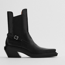 ZARA SQUARE TOED HIGH HEEL LEATHER ANKLE BOOTS BLACK ALL SIZES FW20 REF 1128/610