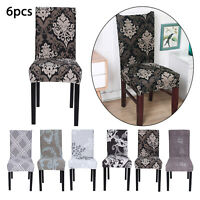 6PCS Dining Chair Seat Covers Slip Stretch Home Wedding Banquet Party Removable