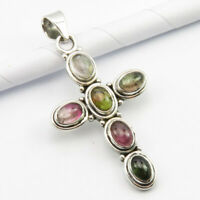 Solid Sterling Silver Natural Tourmaline Pendant Wholesale Jewelry