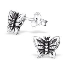 Girls Ladies Sterling Silver Butterfly Stud Earrings  -Gift  Boxed