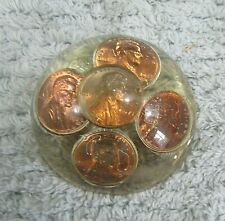 "Early 1970's Lincoln Head Pennies Encased in Acrylic Dome 2"" Paperweight Free Sh"
